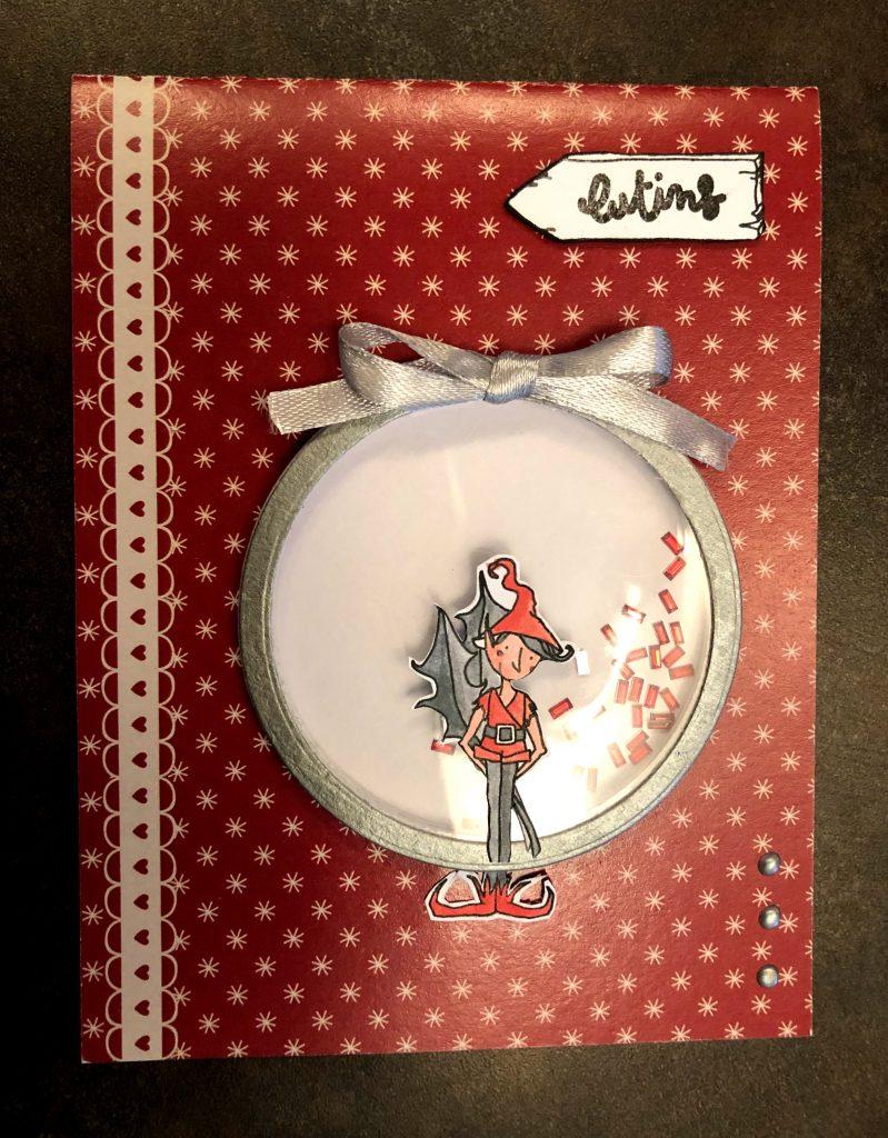 Carte shaker-box scrap-plaisir elfe Noël hiver mousse Nuvo