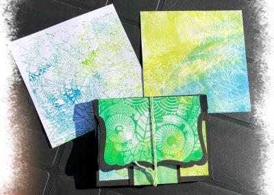 pochette avec fonds réalisés à la gel press