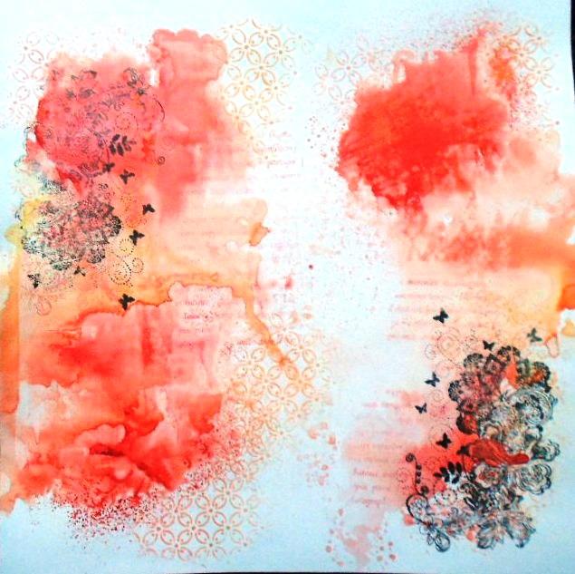 aquarelle encre texture patouille tampon pochoir
